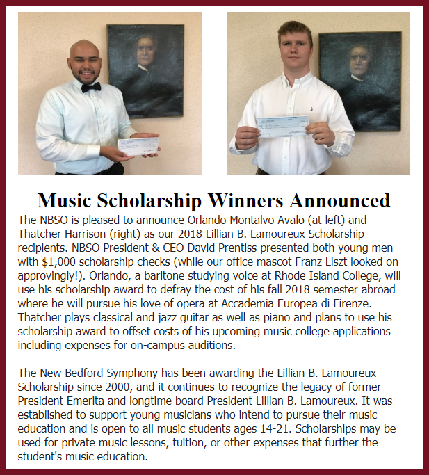 Thatcher Harrison wins the NBSO Lamoureux Scholarship